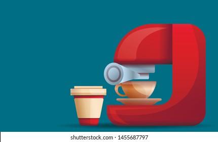 Home coffee machine concept banner. Cartoon illustration of home coffee machine vector concept banner for web design