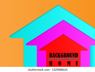 Home concept with paper cut style vector background