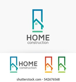 Home Construction, concept, architect, architecture, modern, renovation. Vector logo template