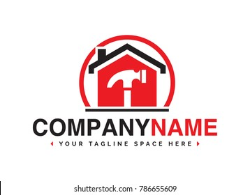 Home and Construction design logo with a hammer inside a house for carpenters, electricians and other related repair and renovation services