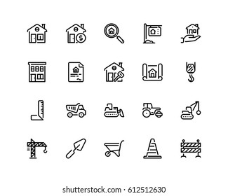 Home and construction icon set, outline style