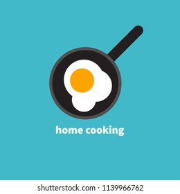 Home cooked food, fried eggs, fried eggs in frying pan, healthy breakfast, home cooking breakfast in cafe, omelet icon. Vector illustration