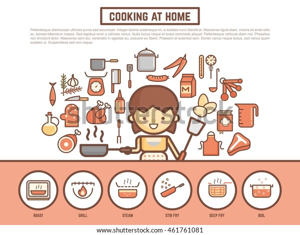 Home Cooking Banner Background Cute Outline Stock Vector Royalty Free 461761081