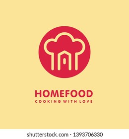 Home cooking food logo design with chef hat and house shape in red circle. Homemade food symbol concept. Catering logotype. Restaurant icon graphic vector illustration.