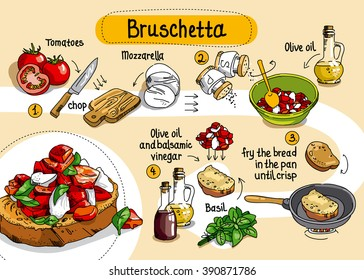Home Cooking Recipe.  cooking recipe bruschetta, step by step instructions, ingredients.