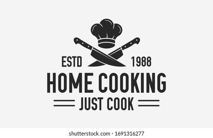 Home Cooking vintage logo. Cooking Courses logo template with chef cap and crossed knives. Label, badge, poster for online courses, food studio, cooking class, culinary school. Vector illustration