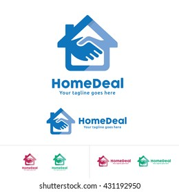 Home Deal Logo, Home Trade Company Identity, Home with hand shake symbol