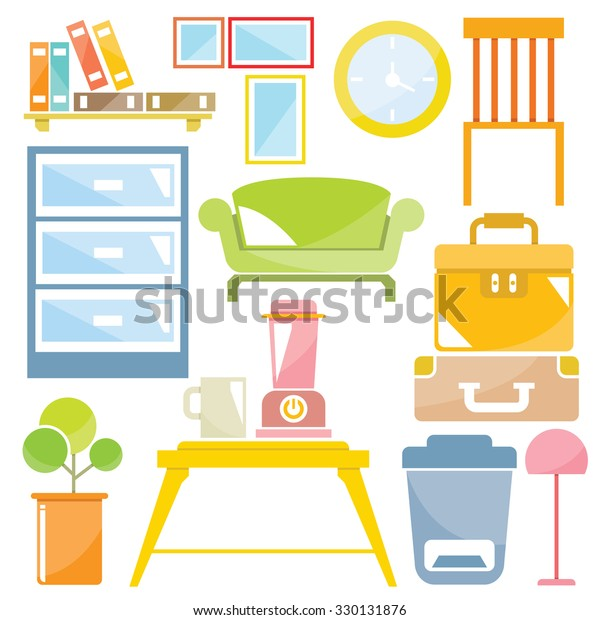 Home Decor Furniture Set Interior Design Stock Vector