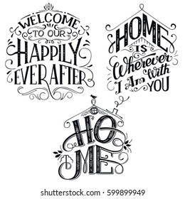 Home decor quotes signs set isolated on white background. Hand-lettering, rustic signs