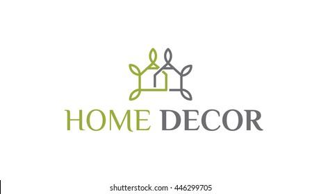 Home decor vector logo template. Interiors brand identity