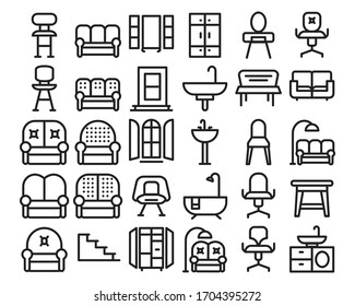 home decoration and furniture thin line icon set