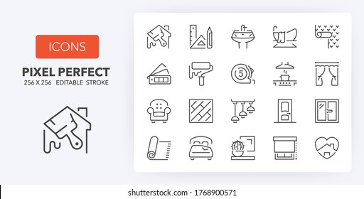 Home decoration and interior design thin line icon set. Outline symbol collection. Editable vector stroke. 256x256 Pixel Perfect scalable to 128px, 64px...
