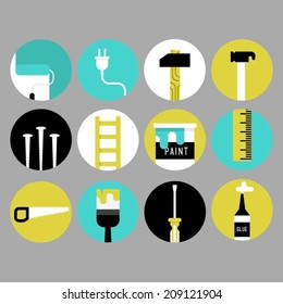 Home decoration and renovation tool icons.