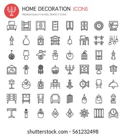 Home Decoration , Thin Line and Pixel Perfect Icons
