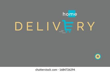 Illustration vectorielle du concept de livraison à domicile pour le site web, application mobile. Icône panier