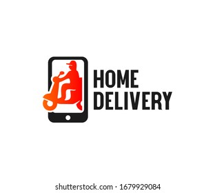 Home delivery, shipping on scooter in smartphone, logo design. Transport, food and online shopping, vector design and illustration
