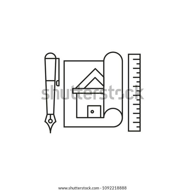 Home Design Modern Simple Outline Vector Stock Vector