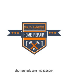 Home design, repair and construction company icon of work tools. Vector hammer mallet, screws or bolts and nuts and screwdriver wit stars and ribbon for toolbox shop or building service sign