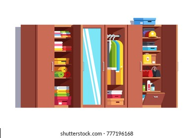 Home dressing room wardrobe. Big wardrobe, door mirror, dresser, nightstand, full closet with stacked & hanging clothes on hanger rack, jackets, woman bags, cardboard boxes. Flat vector illustration i