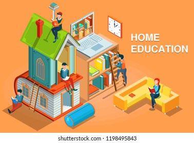 Home education isometric concept vector illustration
