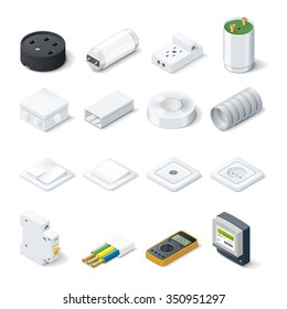 Home electric isometric icon set vector graphic illustration