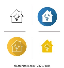 Home electrification icon. Flat design, linear and glyph color styles. House with light bulb inside. Isolated vector illustrations