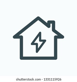 Home electrification linear icon, house lightning isolated vector icon