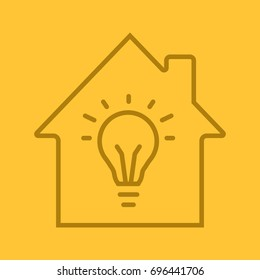 Home electrification linear icon. House with light bulb inside. Thin line outline symbols on color background. Vector illustration