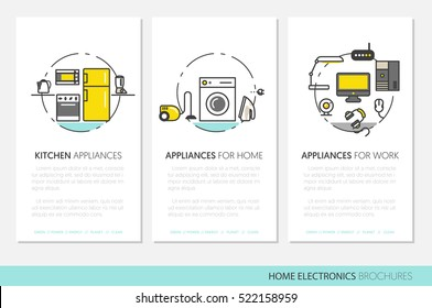 Home Electronics Appliances Business Brochures Template in Thin Line Style with TV set, Refrigerator and Coffee Maker. Vector illustration