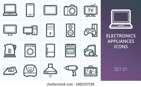 Home electronics and appliances icons set. Set of notebook, pc, camera, tv, cooker, vacuum cleaner, refrigerator icons.