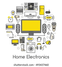 Home Electronics Appliances Thin Line Vector Icons with TV set, Refrigerator and Coffee Maker