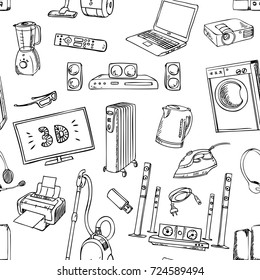 Home electronics icons appliances, seamless pattern