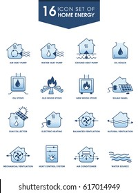 HOME ENERGY ICON SET. for industrial technology requirement