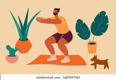 Home exercise. Young man doing squats at home. How to keep fit indoors. Fitness and morning workout in cozy interior. Healthy lifestyle and wellness concept. Flat vector illustration