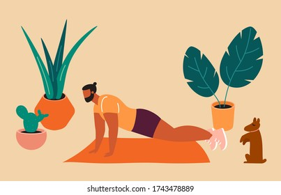 Home exercise. Young man doing push-ups at home. How to keep fit indoors. Fitness and morning workout in cozy interior. Healthy lifestyle and wellness concept. Flat vector illustration