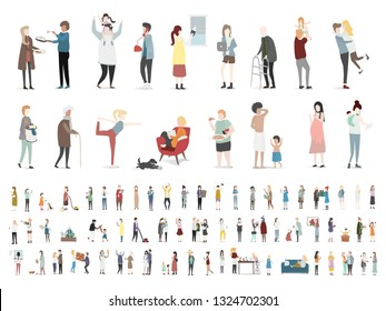 Home and family vector people doing different actions white background.