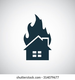 home fire icon, on white background