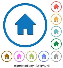 Home flat color vector icons with shadows in round outlines on white background
