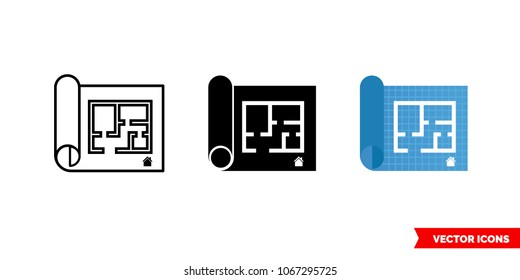 Home floor plan icon of 3 types: color, black and white, outline. Isolated vector sign symbol.
