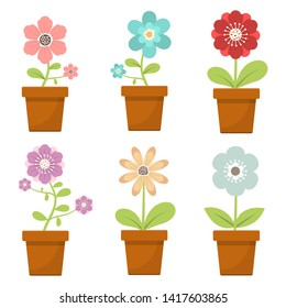 Home flower in pot vector design illustration isolated on white background