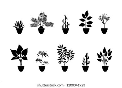 Home flowers icon set. Black pictogram of plant in pot