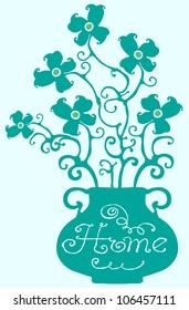 home flowers light green-blue