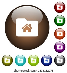 Home folder white icons on round glass buttons in multiple colors