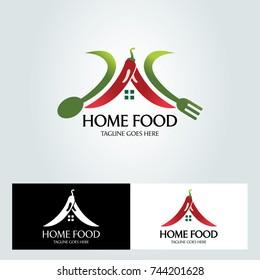 Home food logo design template. vector illustration