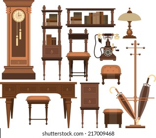 home furnishings of the old cabinet on a white background in retro style