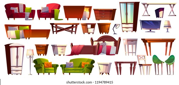 Home furniture of bedroom and living room interior set vector illustration. Isolated cartoon icons of modern and vintage retro bed, table or wardrobe cabinet drawer and armchair or sofa couch