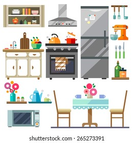 Home furniture. Kitchen interior design.Set of elements:refrigerator, stove, microwave,cupboards, dishes, table, chairs. Vector flat illustration