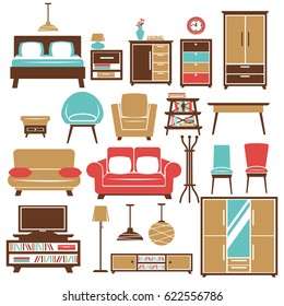 Home furniture and room interior accessories vector flat icons set