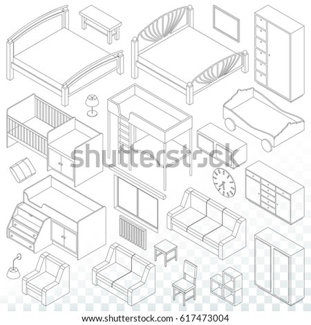 Home Furniture Set Living Room Bedroom Stock Vector Royalty Free