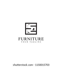 Home Furniture Store Vector Logo Template